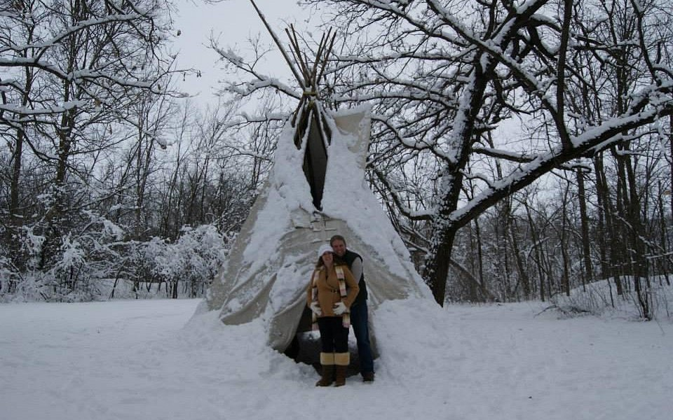 My pregnancy photos, nothing more beautiful then the nature centers teepee during a Minnesota wi