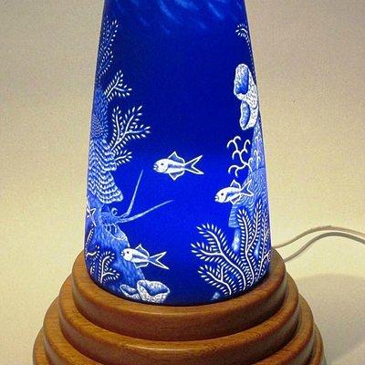 cameo engraved blown vase illuminated by LED light