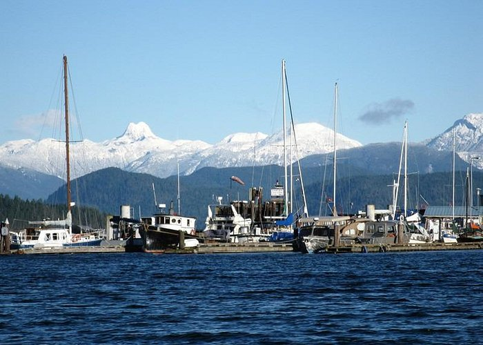 Looking east from the government wharf, Heriot Bay, during winter.