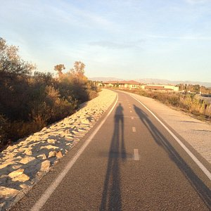 eastbound near sunset, midway along path