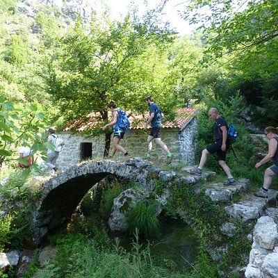 Cross old arched-stone bridges from Ottoman dynasty