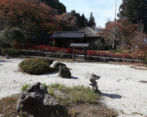 庭園と薬師堂(奥)