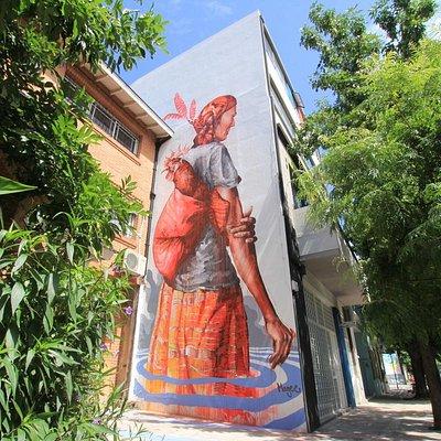 Mural by international street artist Fintan Magee on the tour