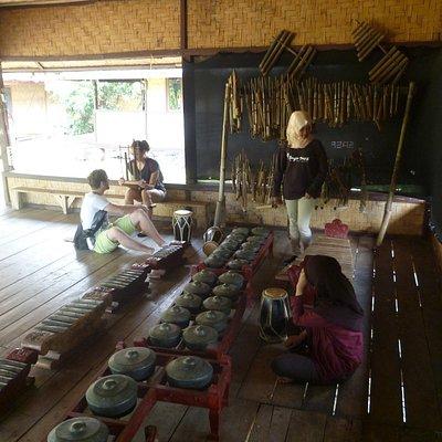 played angklung and gamelan