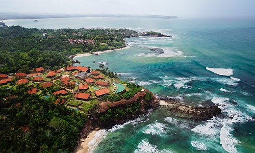 Cape Weligama aerial view to East