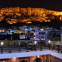 Rooftop landscape terrace of the Namaste Caffe with view of the Mehrangarh Fort