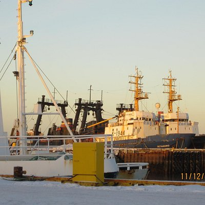 Large Russian fishing trawlers