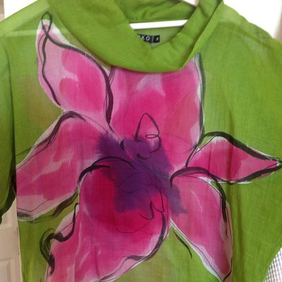 Hand painted cotton blouse from ONCE IN HILO