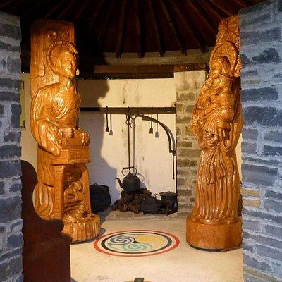 Inside Mary's house. statues of Mary & Joseph