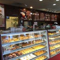 Donut display and menu.