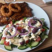 Pork ribs and salad