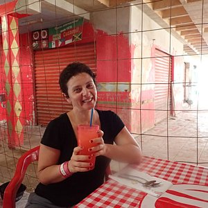 I eating at the Mercado Municipal. Well, drinking lemonade while waiting for the food