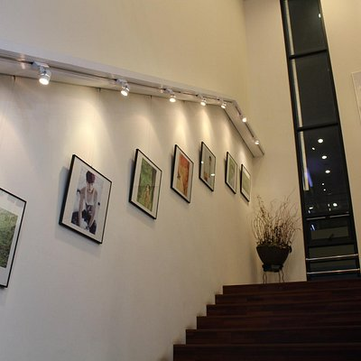 stairs lined with kpop pics