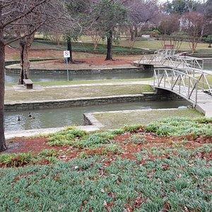bridges hopping across the creek