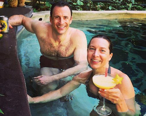 Relaxing with a mango margarita and cerveza in the hot springs