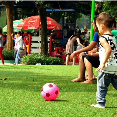 Babies playing on artificial grass field..