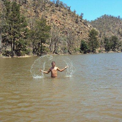 Refreshing swim at Pine Island