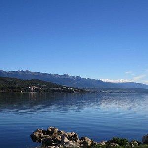 Lake surrounding the church