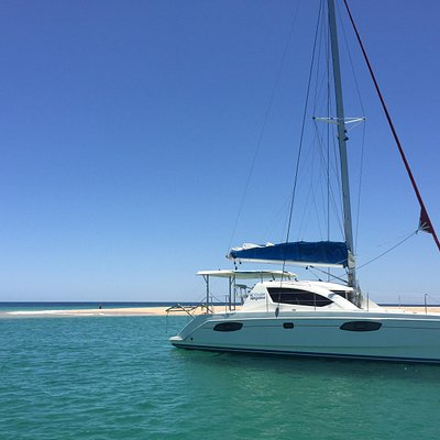 The Ningaloo Virgin at anchorage at an island off Exmouth
