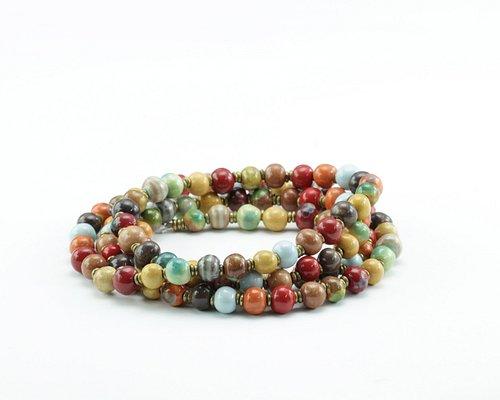 Beautiful handmade ceramic beads - Mala