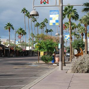 Looking west along Main Street in the heart of the Arts District of Scottsdale, Arizona