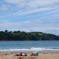 Little Oneroa beach - people were not swimming because of concerns about pollution from Oneroa b