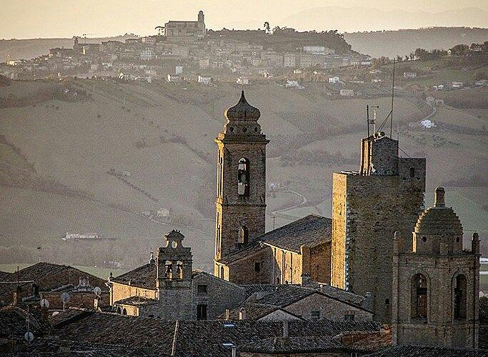 Cathedral and Gerosolimitana's Tower of Sant'Elpidio a Mare in front of Fermo's cathedral