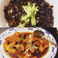 Black bean paste noodle and fried chicken dish