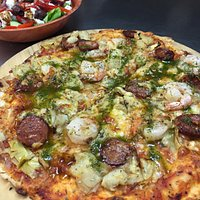 prawn and chorizo pizza