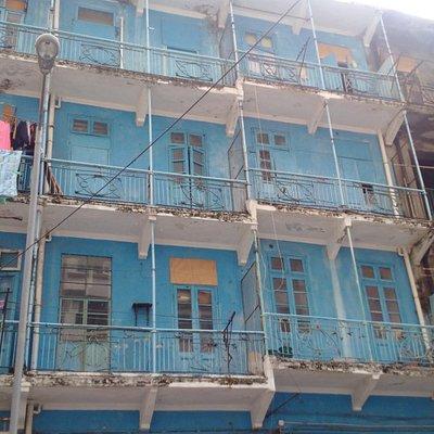 Tong Lau style Blue House, Nullah Lane, Wan Chai, Hong Kong