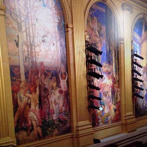 View of the murals in the theatre