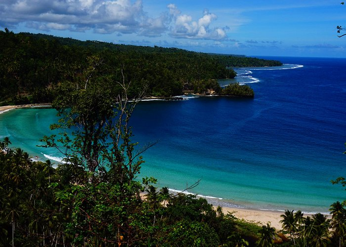 Gorango Cape, Morotai Island. the white and clear water on the beach