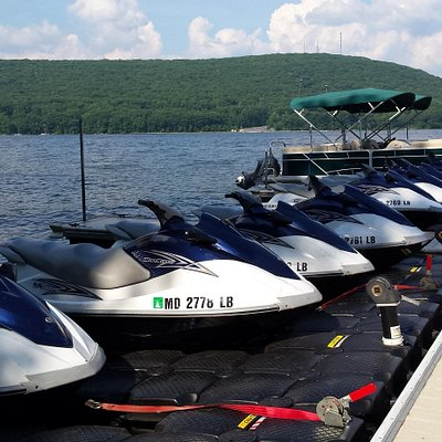 Jet skis ready for a sunny day out on Deep Creek Lake!