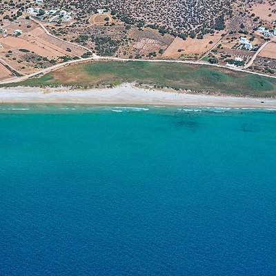 Agiassos beach features a stretch of fine sand and crystal-clear waters.
