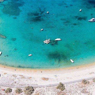 An aerial photo of sandy Agia Anna beach on Naxos.