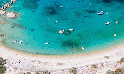 An aerial photo of sandy Agia Anna beach on Naxos.
