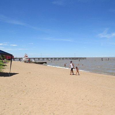 praia de areia e muita sombra a beira mar.