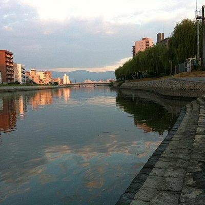 Hiroshima River on a evening walk-peaceful