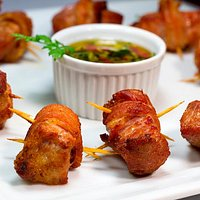Cubinhos de Picanha de porco com bacon
