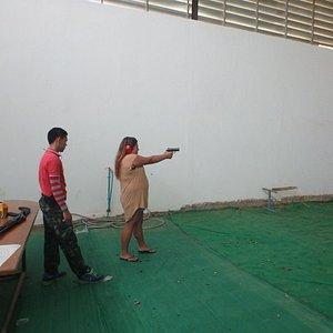 shooting the semi automatic small gun