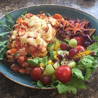 Feta and spinach vegetable lasagne with salad and slaw