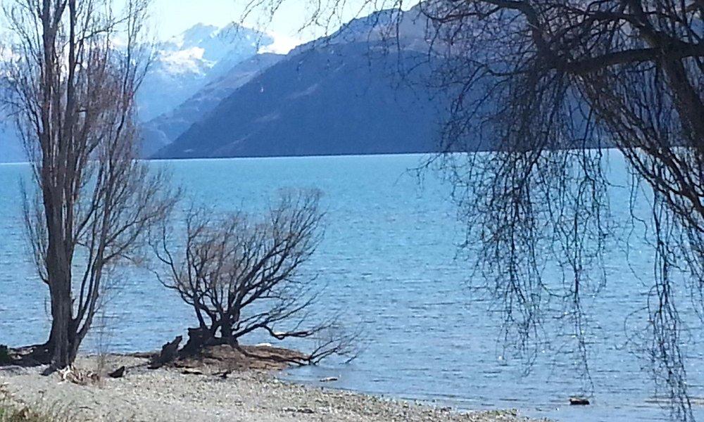 The view of Lake Wanaka from Edgewater Hotel