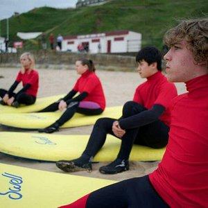 Start of lesson at saltburn surf school