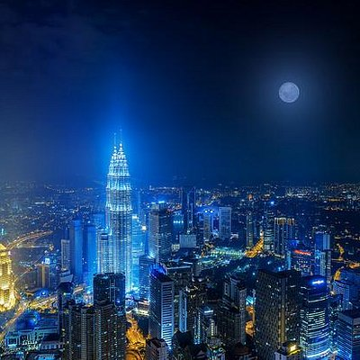 Moon rise over kl tower