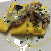 Menù del giorno e polenta gorgonzola e funghi