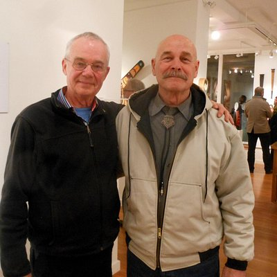 in the picture - two great artists who present the Northwest Coast Art in Stonington Gallery