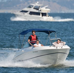 Cruise the bay in a boat you drive!  Powerboating lessons are available.
