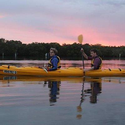 Kayaking at dusk