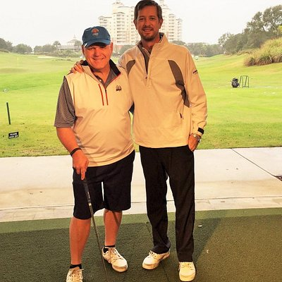 Mark and me on the range. Nice to have the indoor hitting area as we had a little rain.