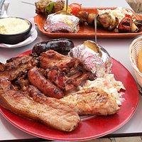 Mixed BBQ & Spicy Lamb Kebab, with lashings of Garlic Butter, yum yum....